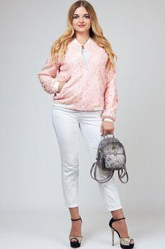 Стильная курточка-бомбер из кожаной вышивки на сетке Тэнси 222. Pink bomber
