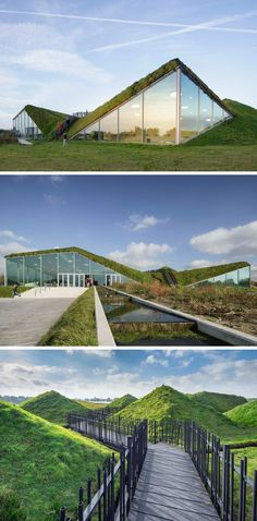 The Biesbosch Museum in Werkendam, The Netherlands, is covered in grass and features a walkway on the roof that's surrounded by small grassy mounds and leads to a look out at one end.