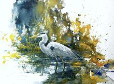 Heron by Morten E. Solberg. Watercolour