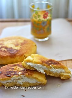 """""""This Arepa Boyacense is from El Boyacá department of Colombia, located in the Andean region of the country, and it is made with yellow pre-cooked corn meal (masarepa), all purpose flour, sugar and fresh cheese. (Gotta) love the combination of sweetness from the sugar with the salty cheese"""". Looks absolutely delicious."""
