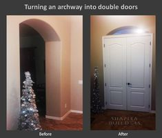 Turning an archway into double doors entryway