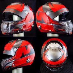 Jesper Ojala's Stilo helmet painted in red and silver metallic with some areas where the orginal carbon shines thru the design (sorry for delayed pictures) Thanks for choosing me to design/paint your helmet #helmetpaint #helmetdesign #stilohelmets #basfrefinish #glasurit #iwata #anestiwata #3Mtape #jtape #karting #motivlack #racing #racinglivery #stilo #helmet #hjälmlack