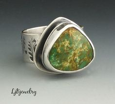 Turquoise Ring, Silver Ring, Statement Ring, Cocktail Ring, Metalsmith Jewelry, Handmade, Leaf Stamp