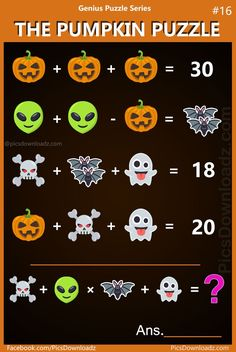 The Pumpkin Puzzle: Genius Puzzle Series 16 Viral Math Puzzles. Difficult and Hard Math Puzzles Images. Brain teasers for kids and adults. Math Games For Kids, Puzzles For Kids, Brain Games For Adults, Kids Math, Maths Halloween, Halloween House, Reto Mental, Brain Teasers For Kids, Maths Puzzles