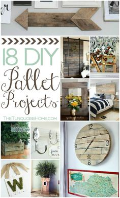 Lately I've been trying to think of some new ways to use the pallets I have in my garage. I've made several DIY projects with them over the past two years and I love having the free wood available ... | 18 DIY Pallet Projects | Roundup via TheTurquoiseHome.com