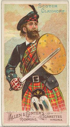 Scotch Claymore, from the Arms of All Nations series (N3) for Allen & Ginter Cigarettes Brands