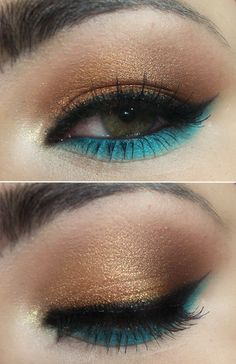 demi lovato-makeup-blue-gold-