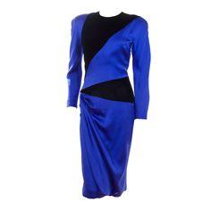 1stdibs - Jacqueline de Ribes Royal Blue Silk and Black Velvet Dress explore items from 1,700  global dealers at 1stdibs.com