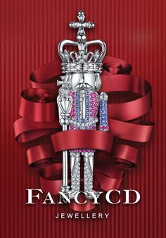 FANCYCD NUTCRACKER Collection- The King / 18K White Gold, Sapphire, Pink Sapphire