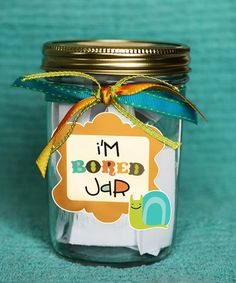 Bored jar with links to other activities for the kids.