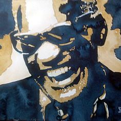 Ray charles  version pop-art  aquarelle originale  exemplaire unique