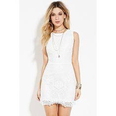 Forever 21 Women's  Cutout-Back Crochet Dress (44 CAD) ❤ liked on Polyvore featuring dresses, white cocktail dresses, sleeveless bodycon dress, white scalloped dress, sleeveless dress and white body con dress