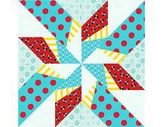 Dancing Arrows paper pieced quilt block pattern PDF... ♥  the colors