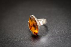 Small Amber Adjustable Ring Sterling silver by BalticBeauty925