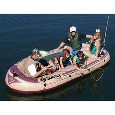 Inflatable Fishing Boat 6 Person Raft Heavy Duty Watercraft Leisure Skiff Lake #InflatableFishingBoat