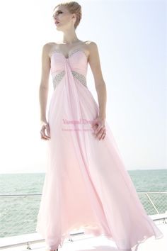 Chiffon Beaded Pink Fashion Sweetheart Prom Gowns Homecoming Dresses