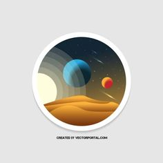 Planets in the space vector image.