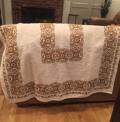 "AustrianVintage Linen Table Cloth Border Print 50s Mid Century Heavy Linen Weave cotton/linen Brown Gold Floral Retro Linens oblong 48""x 92"" by MarveltyVintage on Etsy"