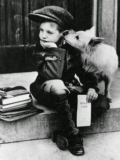 VINTAGE PHOTOGRAPHY  Child and dog 1949
