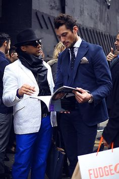 wgsn:    @DGandyOfficial in a typically dapper three-piece navy suit at the #LCM shows yesterday.   Jonathan Daniel Pryce for WGSN street shot, London Collections Men