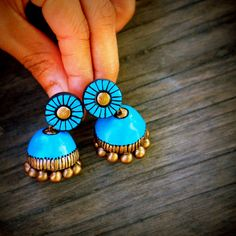 Teal blue opal blue terracotta dangling earrings/ by Mithicotta