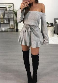 Grey Drawstring Ruffle Boat Neck Long Sleeve Mini Dress in 2020 Hot Outfits, Teen Fashion Outfits, Girly Outfits, Cute Casual Outfits, Stylish Outfits, Dress Outfits, Sweater Outfits, Summer Outfits, Sweater Dresses