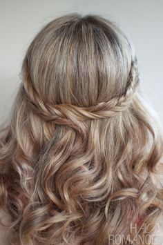 Like! Wedding Hairstyle Ideas: Romantic Soft Curly Fishtail Half Crown