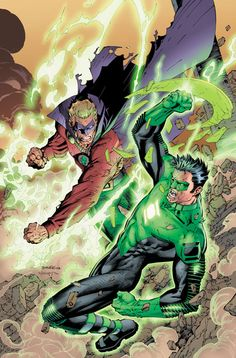"Alan Scott vs. Kyle Rayner by Jim Lee ✮✮Feel free to share on Pinterest"" ♥ღ www.UNOCOLLECTIBLES.COM"