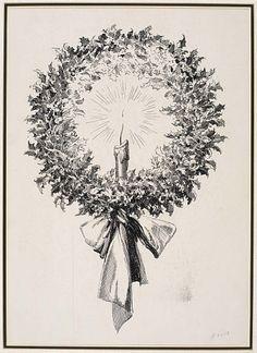 Christmas Wreath (illustration from Dickens' A Christmas Carol) by Everett Shinn / American Art
