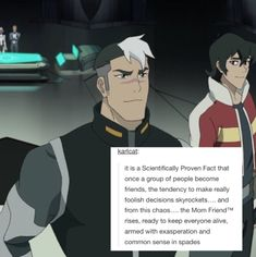 mom friend shiro, BUT LOOK AT THE WAY KEITH LOOKS AT SHIRO, though i'm still about klance