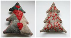 Tree Ornaments...great opportunity to use up menswear or wool suiting scraps! Or even felted wool sweaters. Great idea..