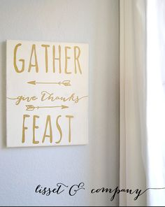 Our 11 x 14 hand painted canvas is painted a creamy white with gold lettering and light black distressing on the edges and throughout the