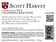 2012 Scott Harvey Three Stags California Red Wine 750 mL  From select vineyards in Amador County and Napa Valley. 93% Amador County vineyards, 7% Napa Valley Vineyards. Produced in the old world style of balanced wine making. Good balance of fruit, French oak, structural tannins and medium alcohol. Reminiscent of the California Claret style produced in the 60's and 70's  http://www.buybestwine.com/2012-scott-harvey-three-stags-california-red-wine-750-ml/