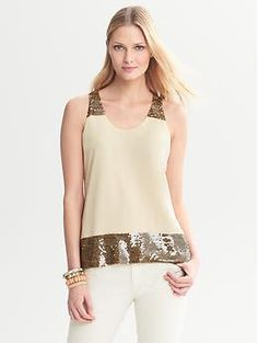 Heritage Sequin-Trim Tank | Banana Republic