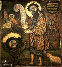 St-Takla.org Image: Ancient Coptic icon of St. John the Baptist صورة في موقع الأنبا تكلا: أيقونة قبطية أثرية تصور القديس الشهيد المعمدان يوحنا
