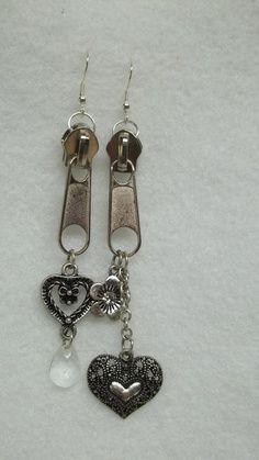ok then.......Silver zipper chain earrings flower heart crystal goth punk fashion eco friendly
