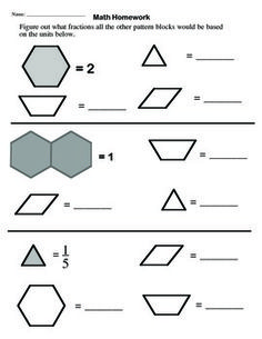 math worksheet : constructivist approach to fractions with pattern blocks  : Pattern Block Fractions Worksheet