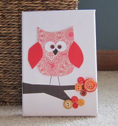 Items similar to Children's Room Canvas Art, Nursery decor, 5 x owl on a tree branch, red and orange, cute as a button on Etsy Baby Crafts, Diy And Crafts, Crafts For Kids, Arts And Crafts, Paper Crafts, Nursery Canvas Art, Owl Canvas, Canvas Artwork, Diy Wall Art