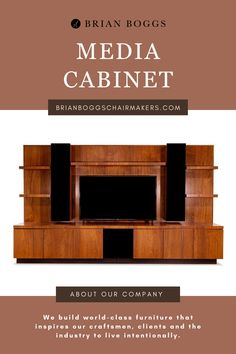"""Our media cabinet showcases a waterfall of perfectly matched, bandsawn walnut flowing top to bottom. Two speaker cabinets frame enough space for a 75"""" TV screen while housing four units of a seven-speaker sound system. Speaker cloth dresses up the fronts of these towers and lets the sound escape freely. #cabinet #BrianBoggs #woodtable #furniture #craftsman"""