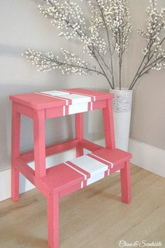 Ikea BEKVAM step stool in Behr Marquee Strawberry Wine. // cleanandscentsible.com