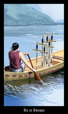"""2nd card:  Six of Swords Keywords: Travel over water. Movement, a new job. Moving to a new home. Travel for pleasure. Progress, improvement, and smooth sailing ahead."