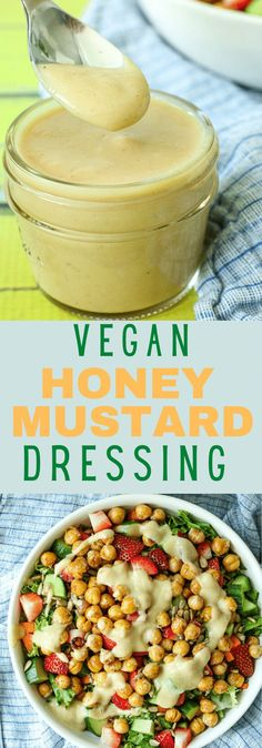This is the BEST vegan honey mustard dressing!! It's SO creamy and delicious! Great for salad and more!! Dairy free vegan salad dressing recipe. Vegan Snacks, Snack Recipes, Salad Recipes, Honey Mustard Salad Dressing, Delicious Vegan Recipes, Healthy Recipes, Healthy Food, Food Tasting, Dairy Free Recipes