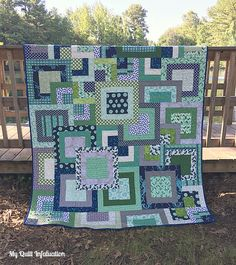 My Quilt Infatuation: Stacked Squares quilt, cutting instructions for fat quarters and yardage instead of precuts