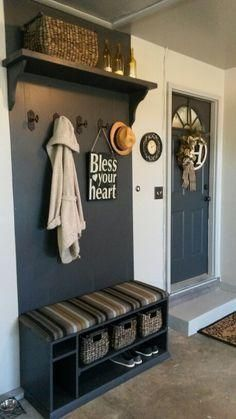 My new garage entry way! My new garage entry way! Garage Organization Tips, Garage Storage, Storage Shelving, Shelving Units, Storage Cabinets, Garage Mudrooms, Boot Storage, Storage Benches, Storage Racks