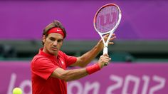 Roger Federer of Switzerland returns a shot against Alejandro Falla of Colombia during their Men's Singles Tennis match on Day 1 of the London 2012 Olympic Games at the All England Lawn Tennis and Croquet Club in Wimbledon on July Roger Federer, Stan Wawrinka, 2012 Games, Lawn Tennis, Beautiful London, Tennis Match, Serena Williams, Best Player, Track And Field