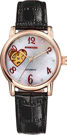 BINKADA Unique Automatic Mechanical White Dial Womens Watch 7073W042 >>> You can find out more details at the link of the image.