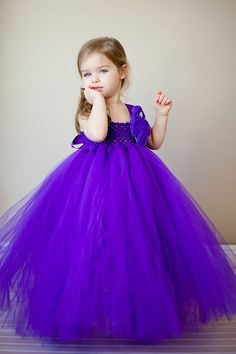 Purple Flower Girl Tutu Dress with Customizeable Accents on Etsy, $138.00