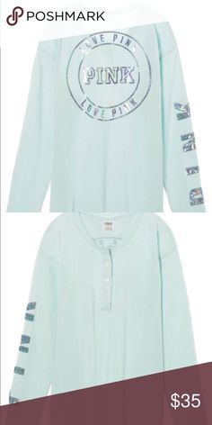 Campus Long Sleeve Henley Northstar color Bling NWT Your fave fit with a button-up front and printed graphics. Just add leggings for the perfect on-the-go outfit. FREE SHIPPING ON Ⓜ️MERCARI  Henley style button-up front Super oversized fit Heavyweight Longer length Imported cotton PINK Victoria's Secret Tops Tees - Long Sleeve