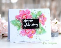 you are a blessing (Altenew Hibiscus Bouquet) - Alcohol inks Flower Stamp, Flower Cards, Watercolor Cards, Floral Watercolor, Hibiscus Bouquet, The Ton Stamps, Altenew Cards, Pretty Cards, Cardmaking