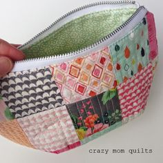 crazy mom quilts  Aneela's pattern baggy pouch, put darts on bottom to shape pouch